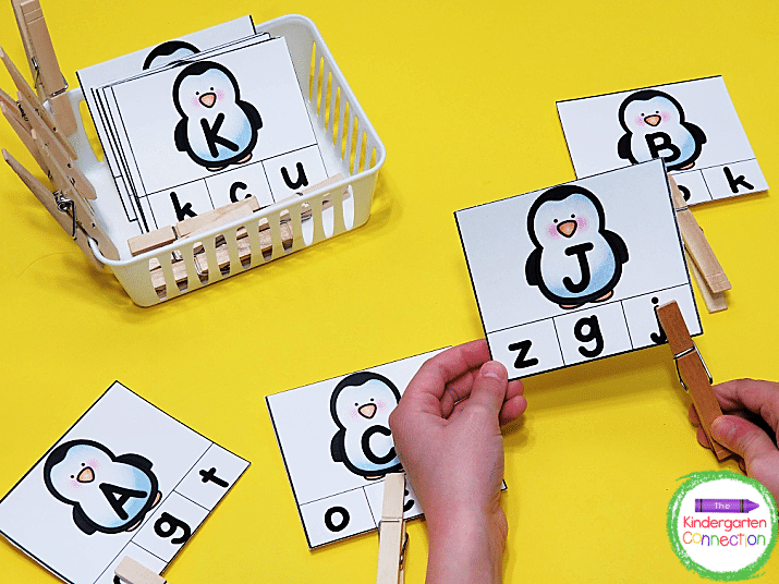 Simply print the penguin cards, laminate, and grab some clothespins for a hands-on literacy center.