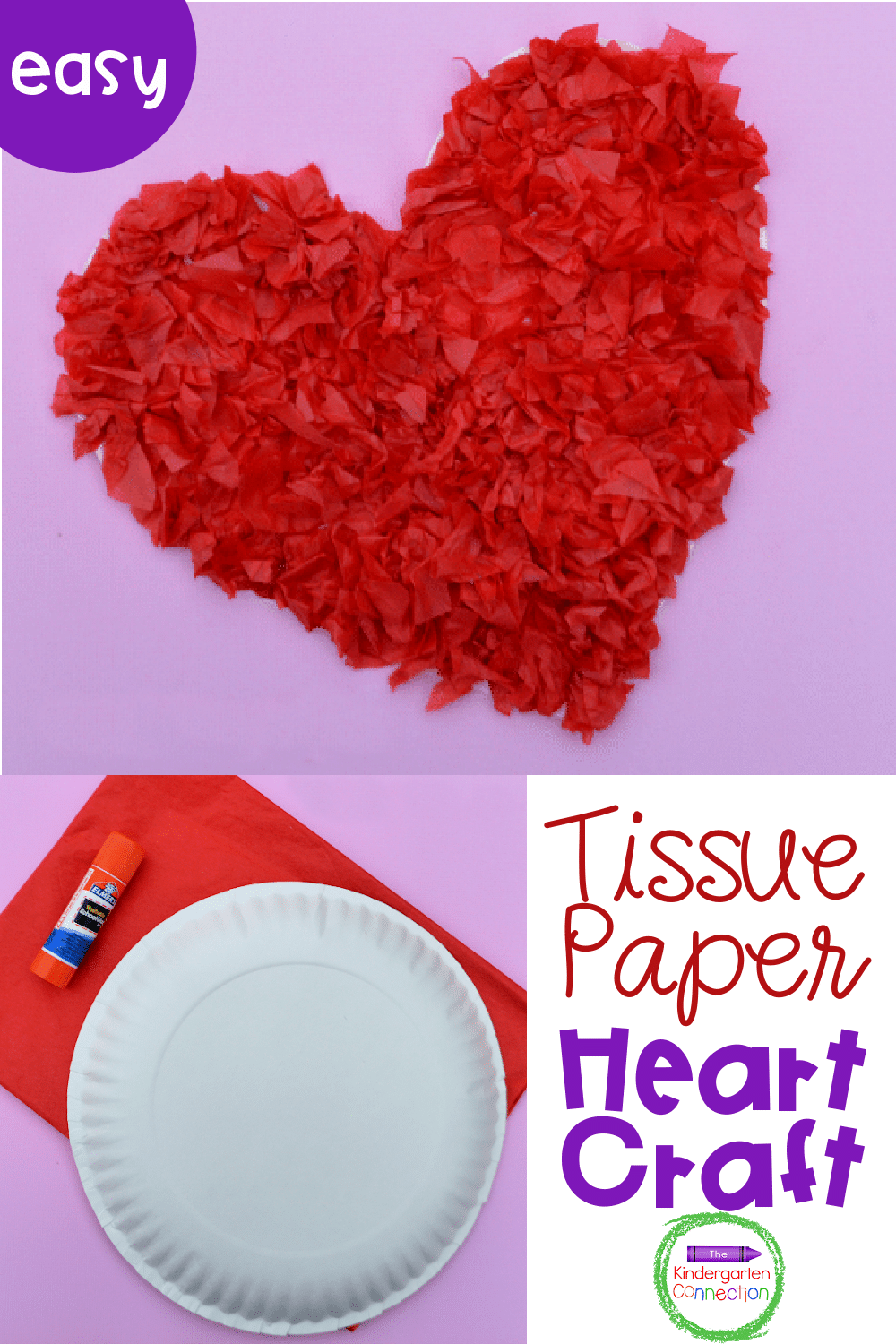 Prepare for Valentine's Day while strengthening fine motor skills too with this fun and easy tissue paper Valentine heart craft for kids!