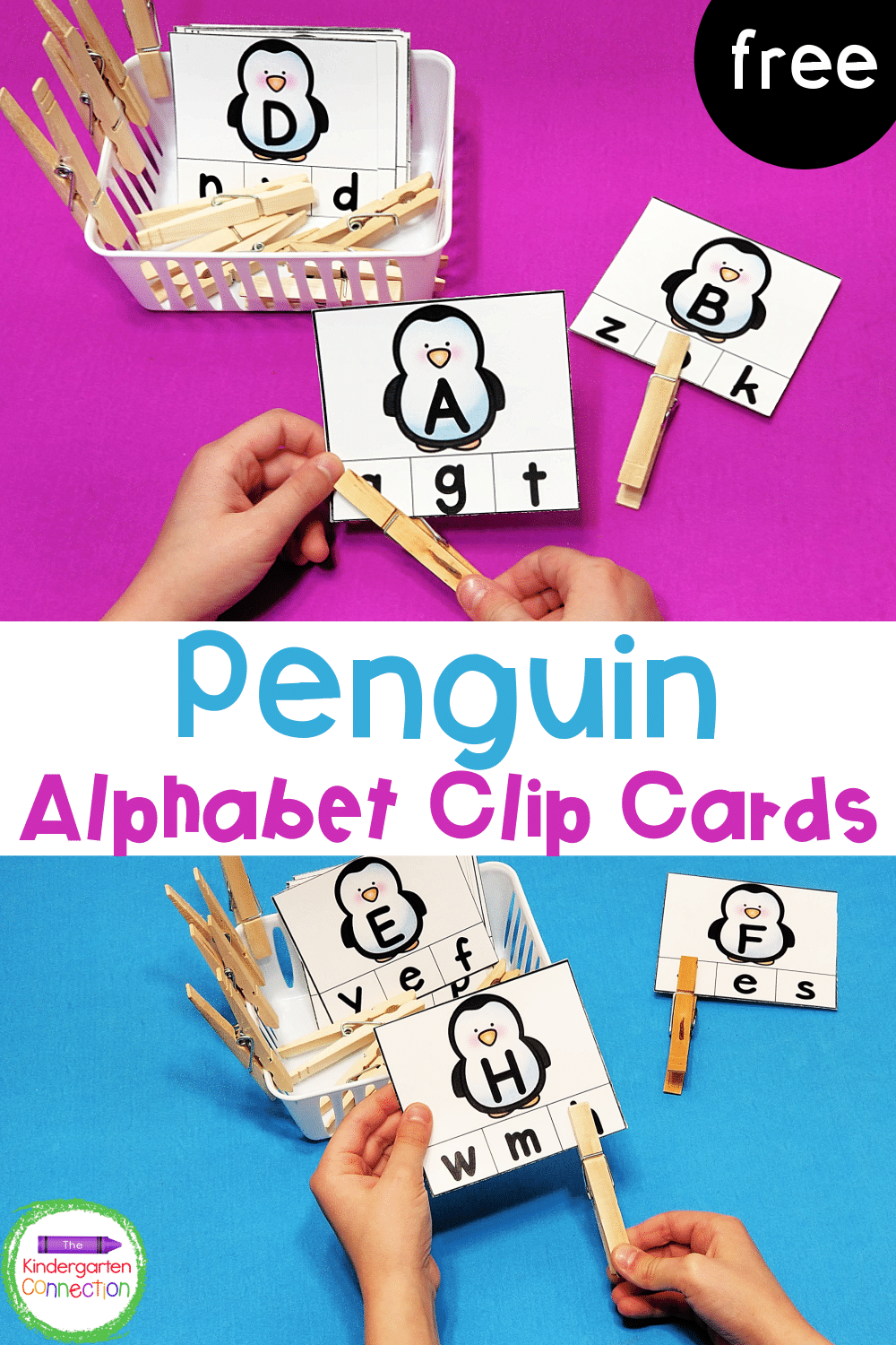 Grab our FREE Printable Penguin Alphabet Clip Cards for Pre-K or Kindergarten and add some seasonal fun to your literacy centers!
