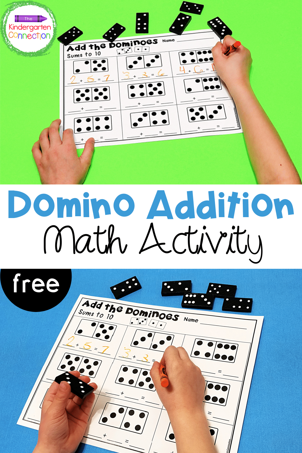 These FREE domino addition printables are a great Kindergarten or 1st grade math center for practicing beginning addition skills!