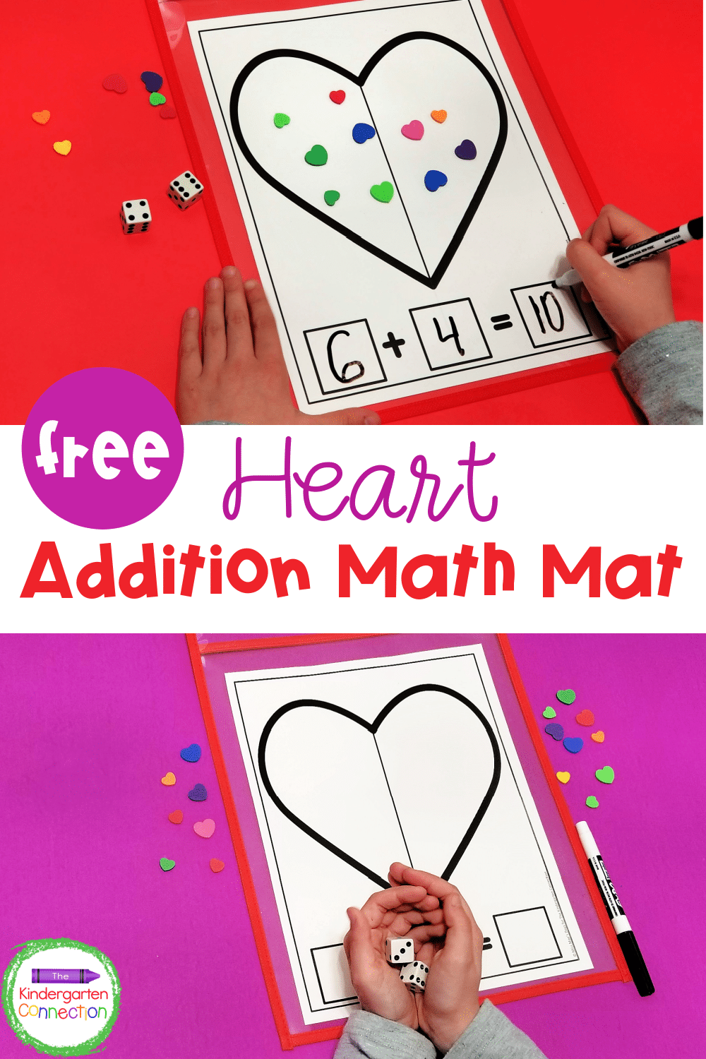 Add a fun, seasonal twist to your math centers with this free Valentine Heart Addition Math Mat printable where students can count and add!