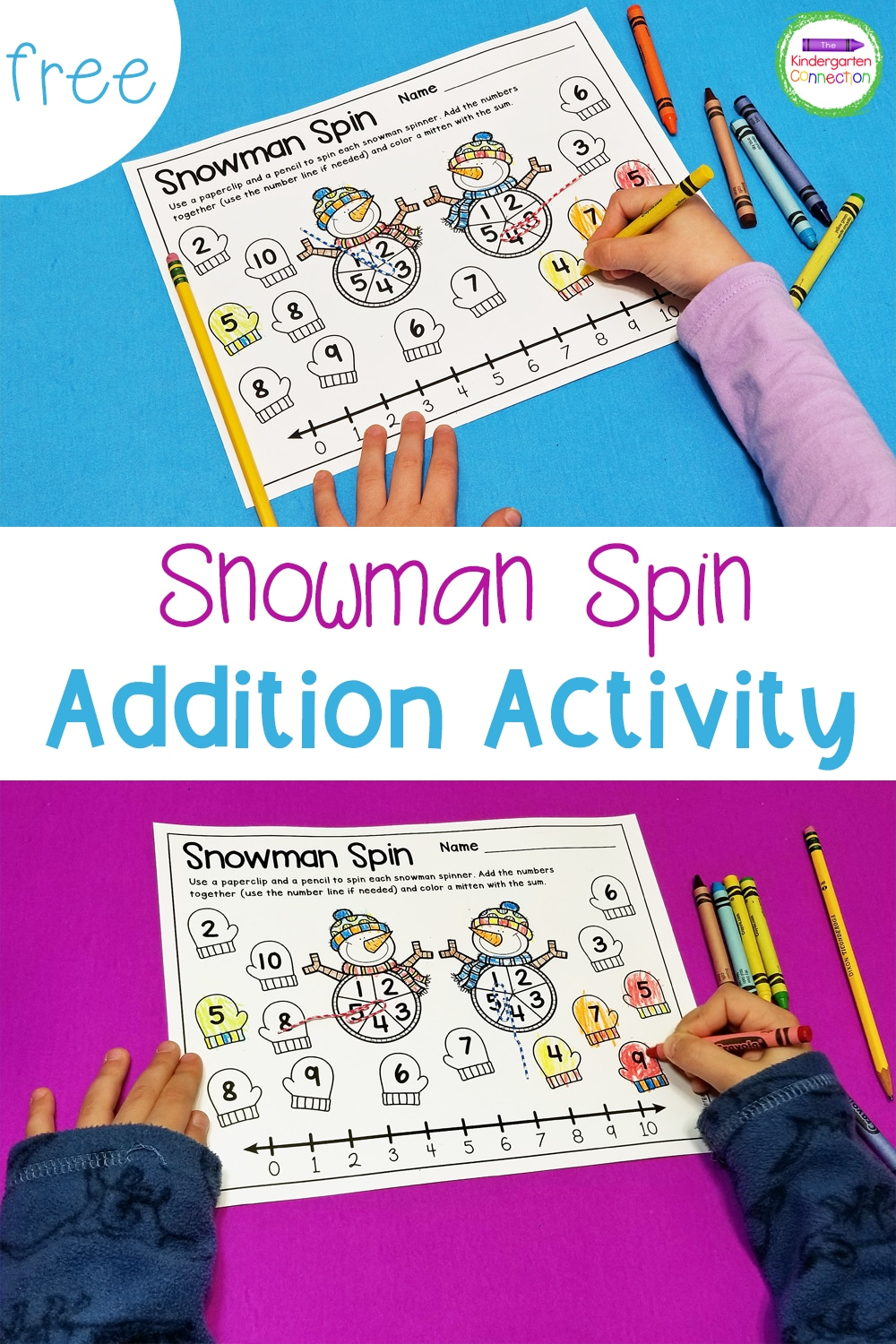 Work on addition to ten and build fact fluency with this fun and free Snowman Addition Game for Kindergarten!