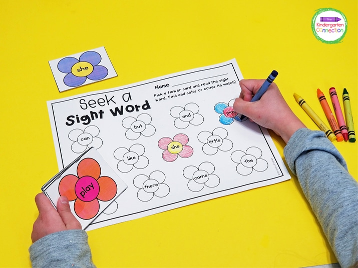 Just print the Spring Sight Word Center Activity flower cards, recording sheet, and grab some crayons to get started!