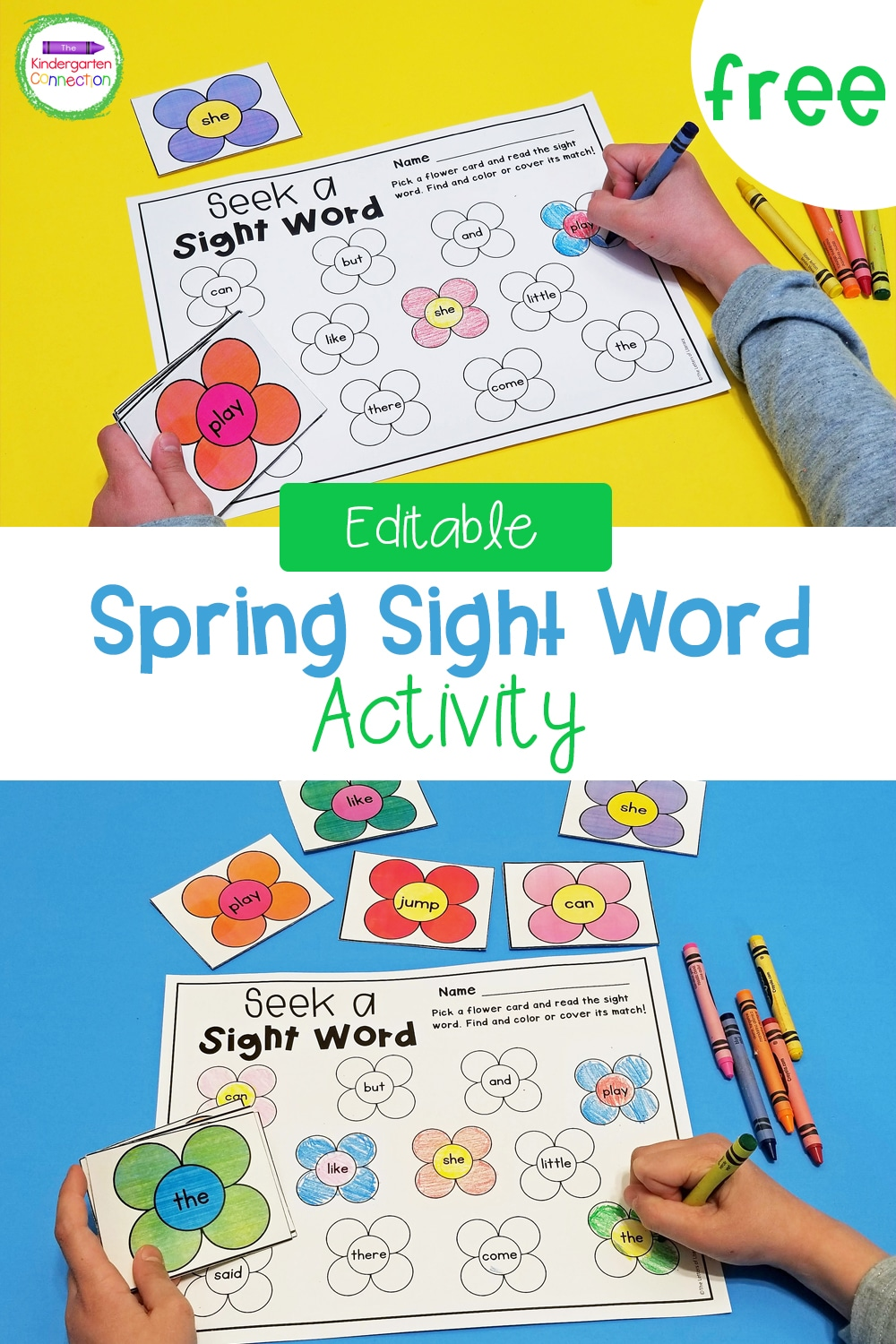 This FREE Editable Spring Sight Word Activity for Kindergarten is perfect for a literacy center, partner work, or as an independent activity!
