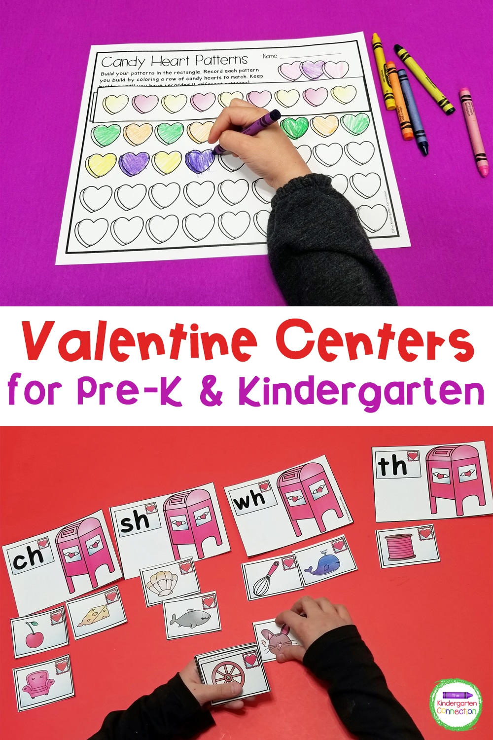 These Valentine's Day Centers for Pre-K & Kindergarten provide tons of hands-on, math and literacy activities that are perfect for February!