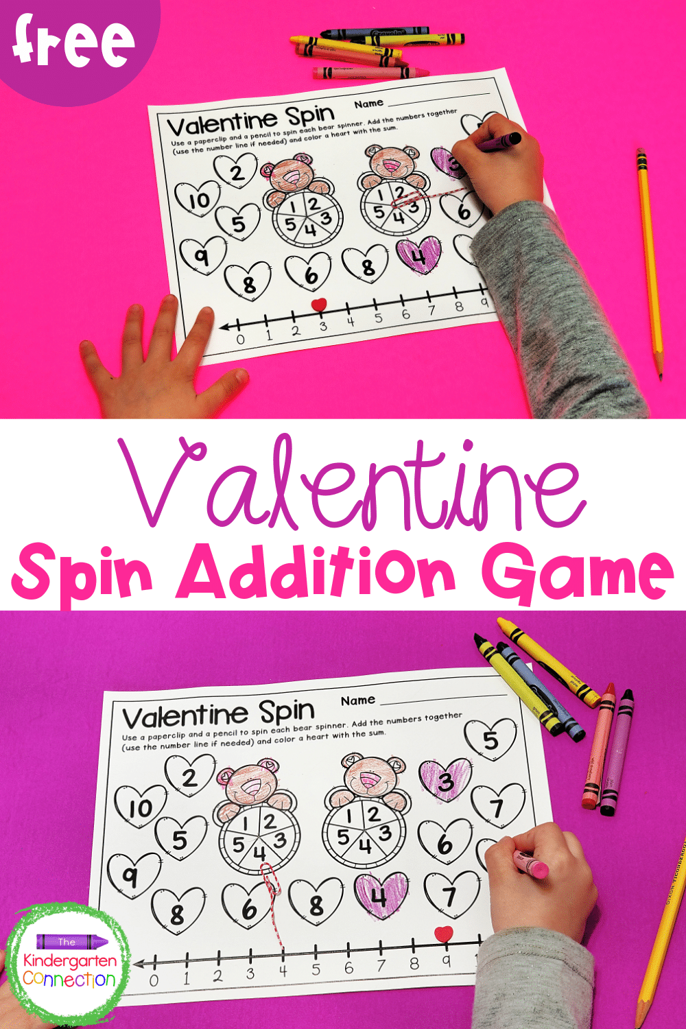 This FREE Valentine addition game for Kindergarten will add some hands-on learning fun to your math centers this February!