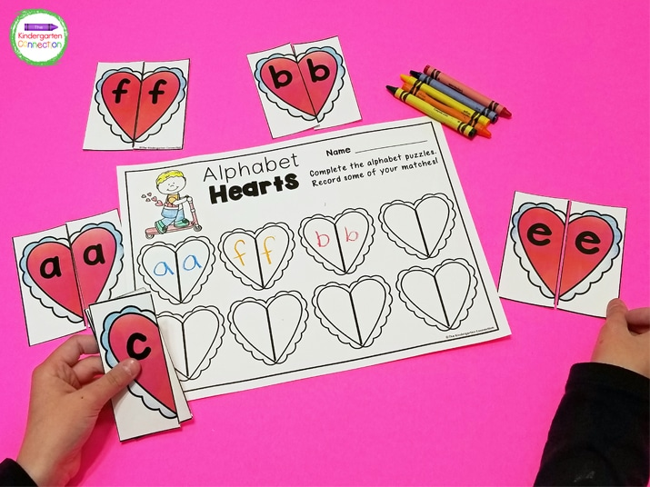 This pack includes fun Valentine's Day centers like this easy-prep Alphabet Hearts matching game.
