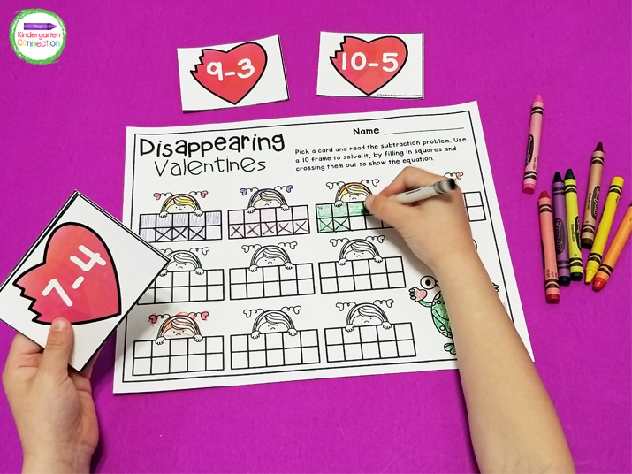 Disappearing Valentines is a fun, hands-on game for practicing subtraction.
