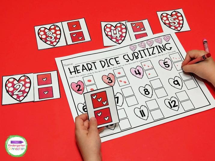 Once all cards have been paired up, students will record the dice combinations on the provided recording sheet.