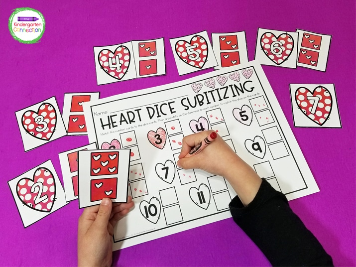 In this Valentine's Day Subitizing game students will practice subitizing, as well as number combinations.