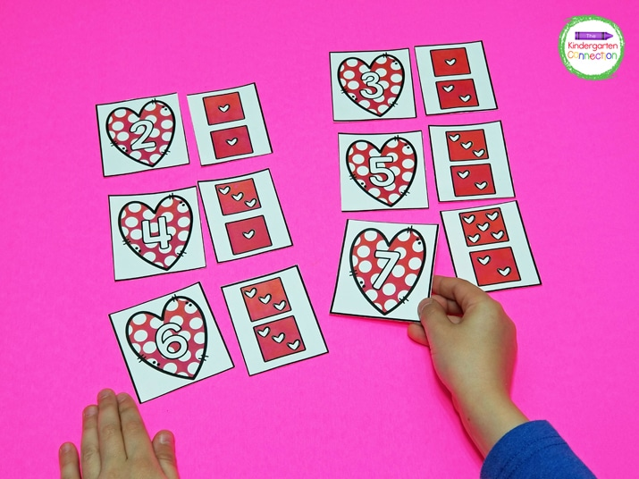 Students should match the cards up until all numbers have been paired with their subitizing match.
