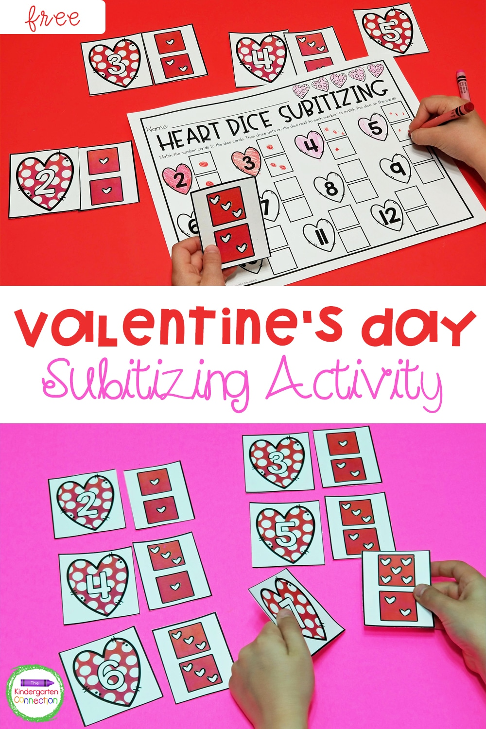 This free Valentine's Day Subitizing game is perfect for providing simple, but effective subitizing practice in Pre-K and Kindergarten!