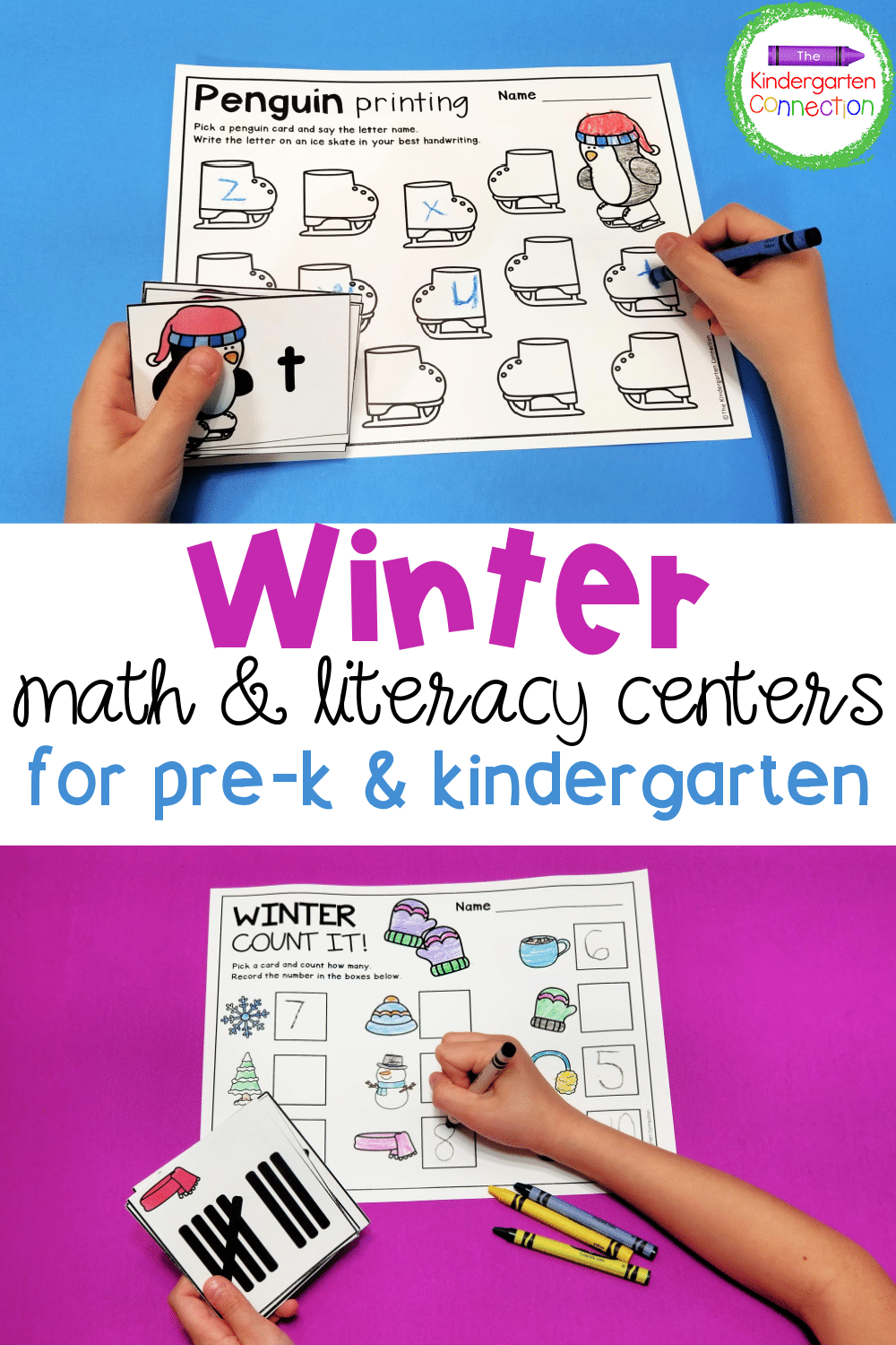 These low-prep Winter Centers for Pre-K & Kindergarten are great to work on letters, sight words, numbers, shapes, and so much more!