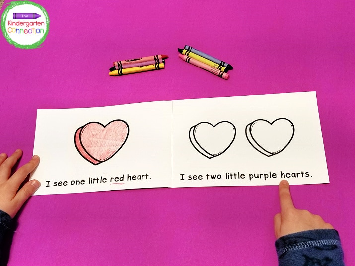 This Valentine emergent reader works on number words to six.