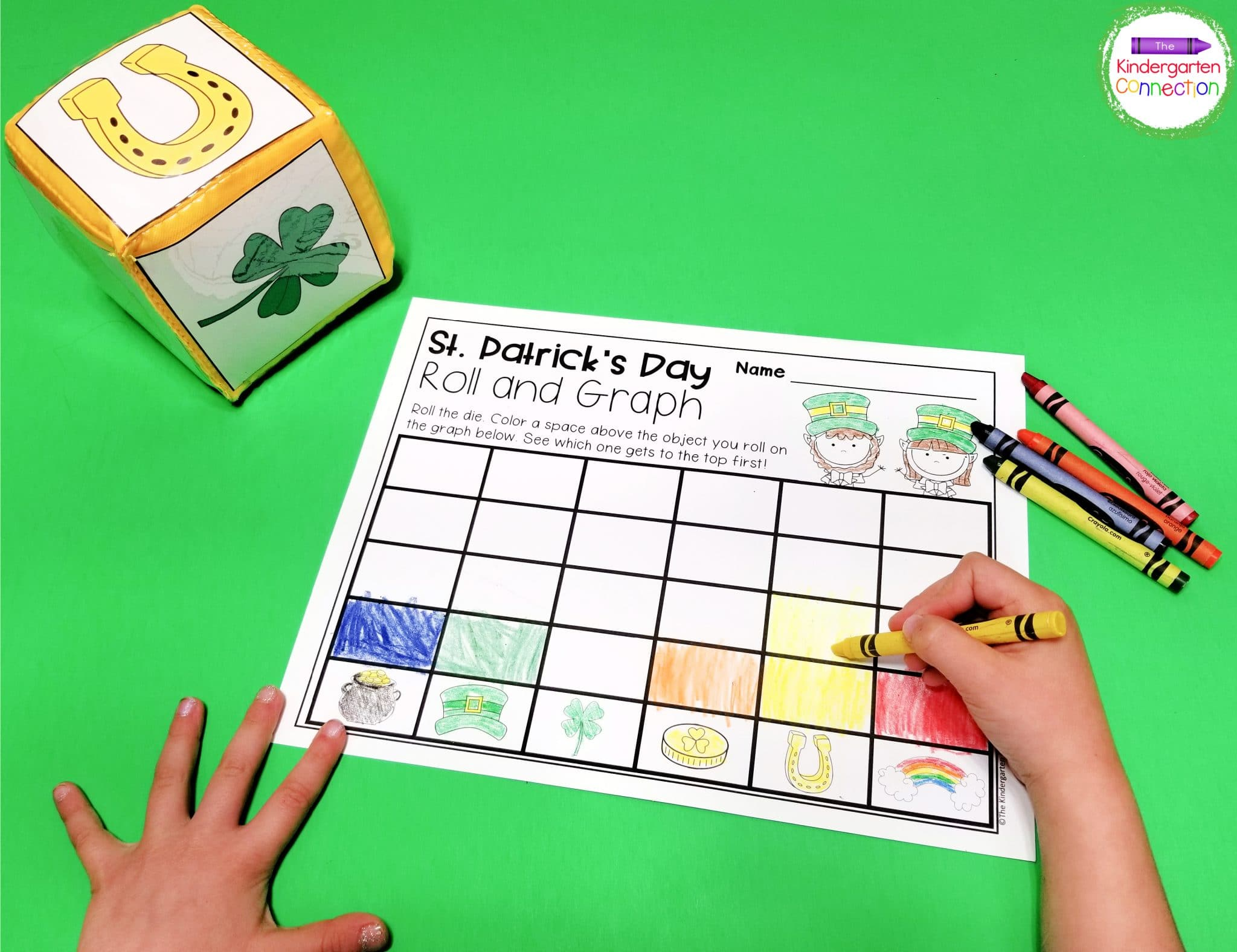 For this St. Patrick's Day math activity you can print the picture cards and slip them into a pocket die.
