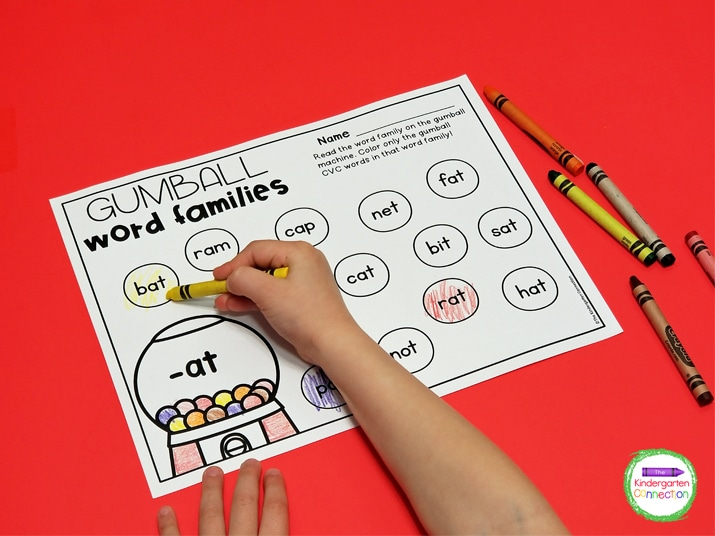 In Gumball Word Families, students read the word family on the gumball machine and then color only the CVC words in that word family.