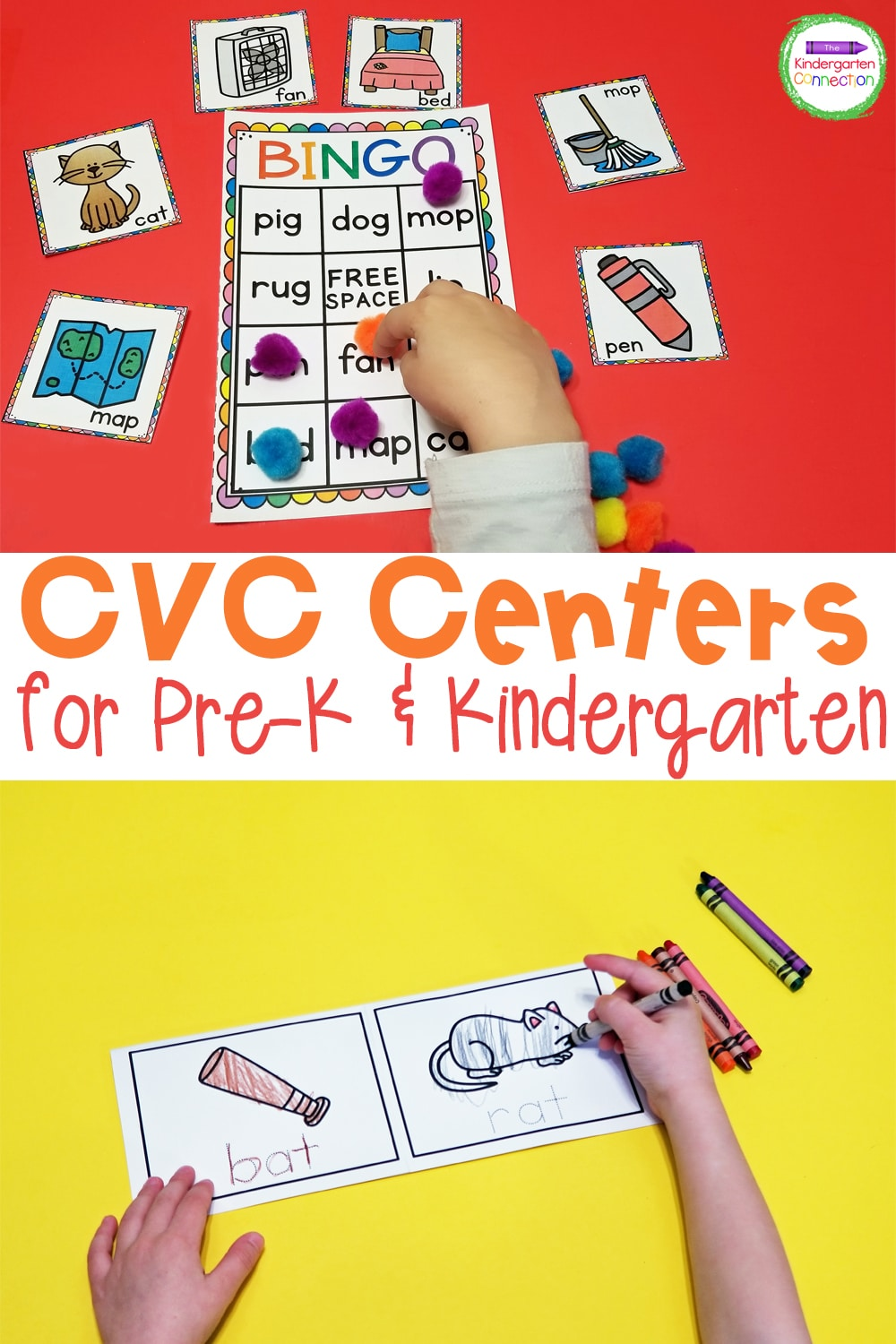 These CVC Word Activities and Centers for Pre-K & Kindergarten are a great way to practice a variety of CVC word families with your students!