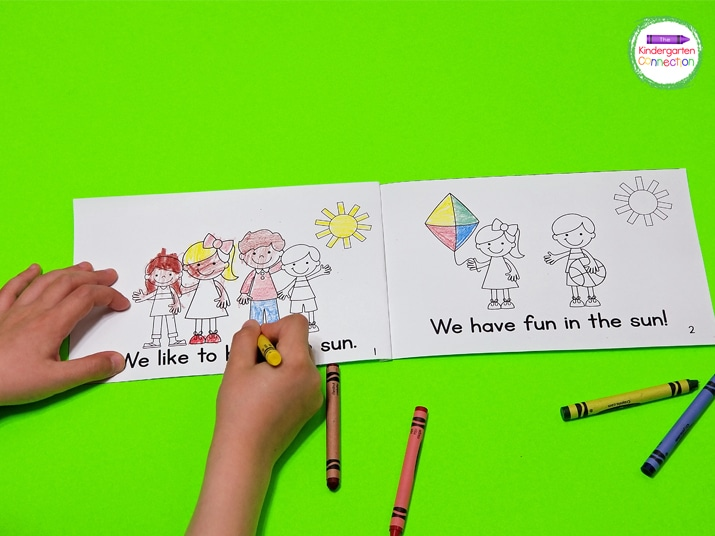 Each book contains a focus word family and pictures for the students to color.