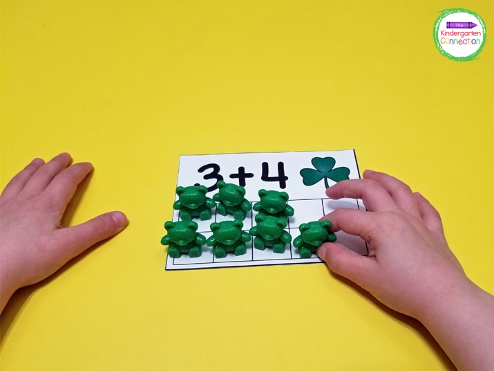 Counting bears are a fun manipulative for building the equation in the ten frame.