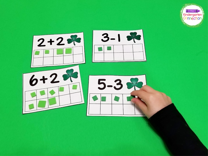 With these cards, the kids can see the parts of the equation and build the answer in a tangible way!