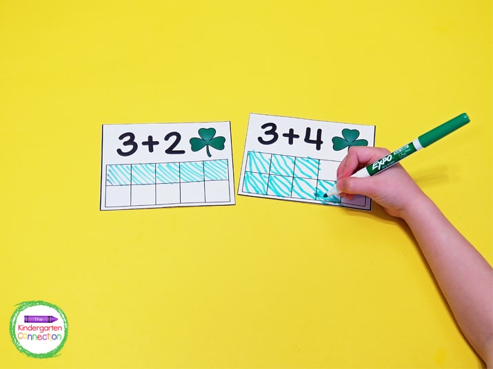 Laminate the addition and subtraction cards and use green dry erase markers to color in the ten frames!