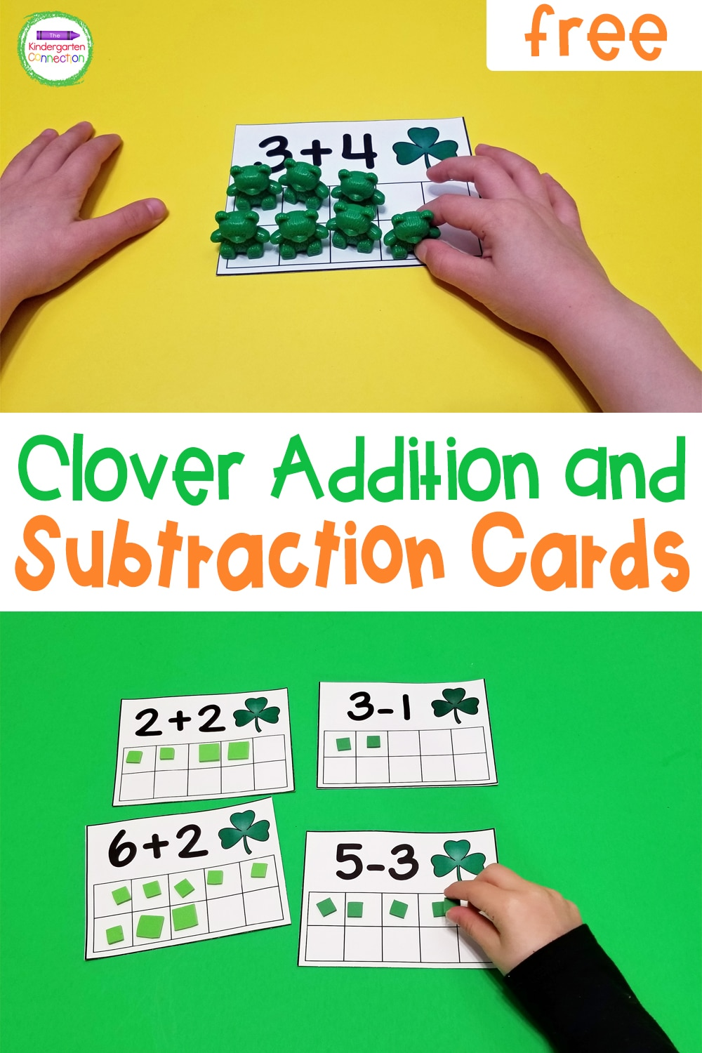 Great for small groups, centers, or independent work, these free printable Clover Addition and Subtraction Cards are super versatile!