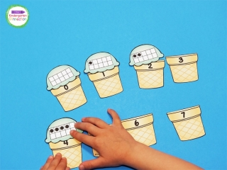 Ice Cream Ten Frame Number Match