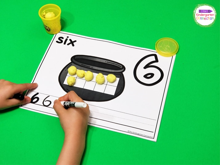 Grab some play dough and pencils or dry erase markers for a fun, low-prep math center!