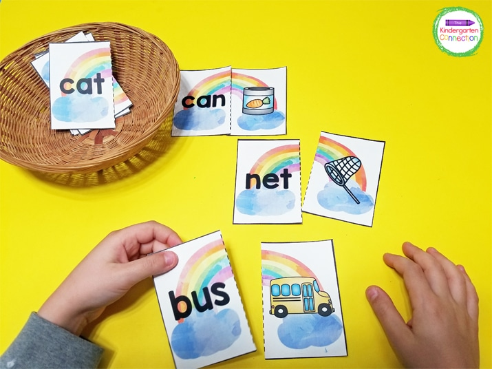 Students match the CVC word with the matching picture.