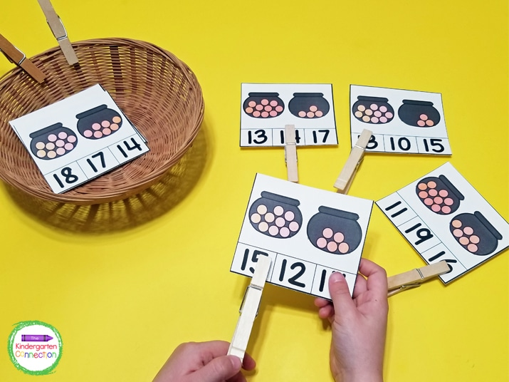 This pack includes fun St. Patrick's Day centers like these hands-on counting clip cards.