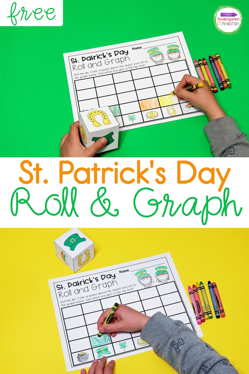 Grab this FREE Roll and Graph St. Patrick's Day Math Activity and use it in your math centers or small groups for some hands-on graphing fun!