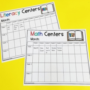 Editable Math and Literacy Center Planning Templates