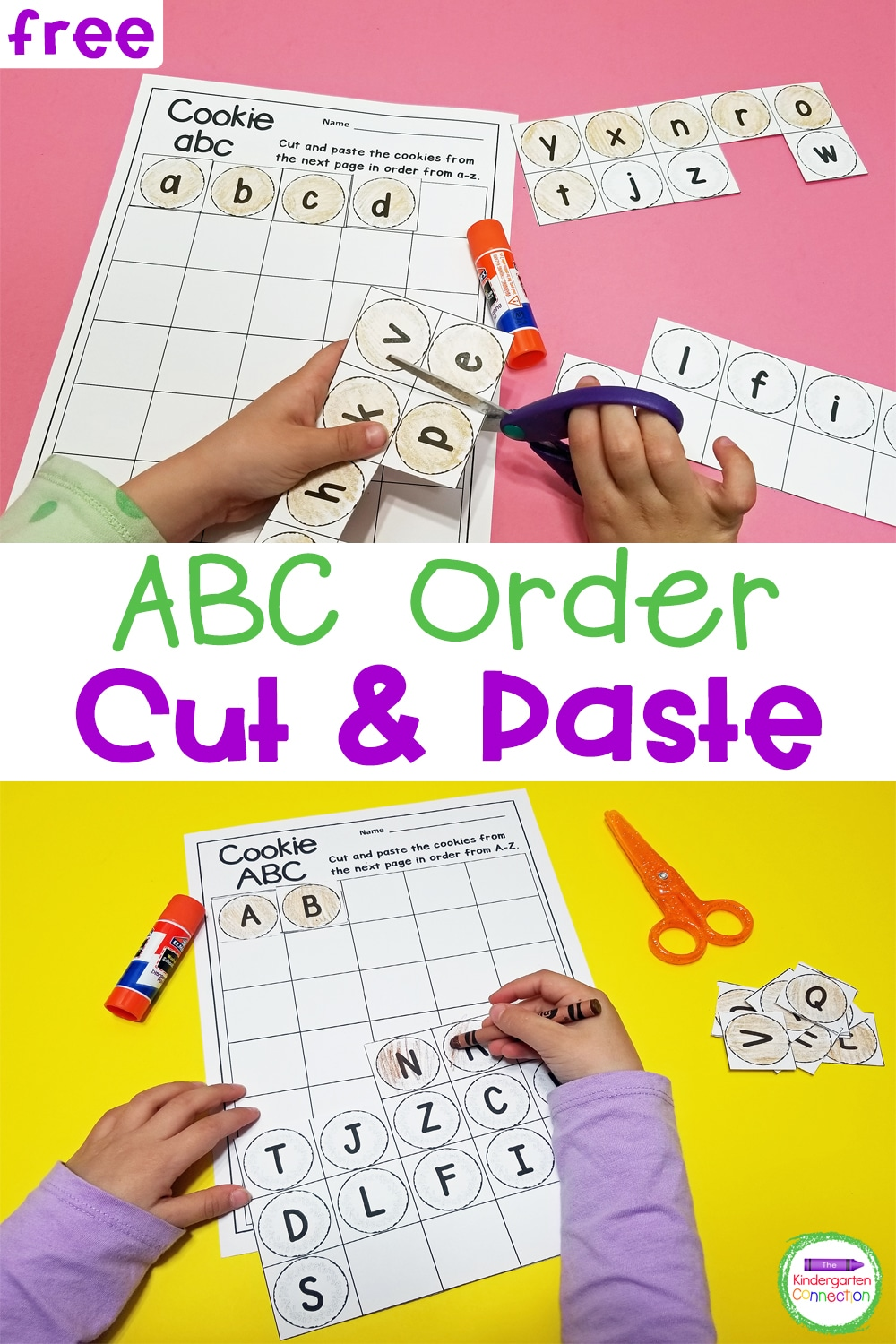 This FREE, printable Cut and Paste Alphabetical Order Activity strengthens both ABC order and fine motor skills and is so much fun!
