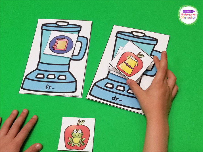 In Blending Up Blends, students sort the fruit cards based on the blend represented by the picture and place the blends on the correct blender mat.