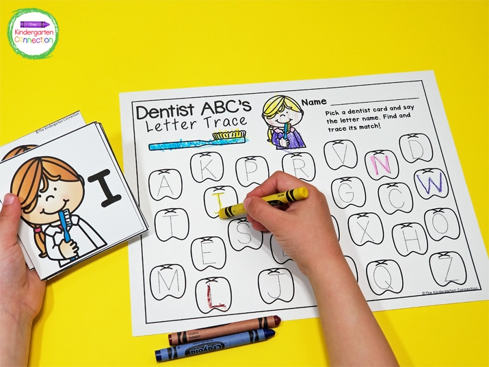 In Dentist ABC's, kids pick a dentist card, say the letter name, and then find and trace its match on the recording sheet.