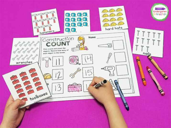 In Construction Count, students count the tools on the cards and write the correct number on the recording sheet.