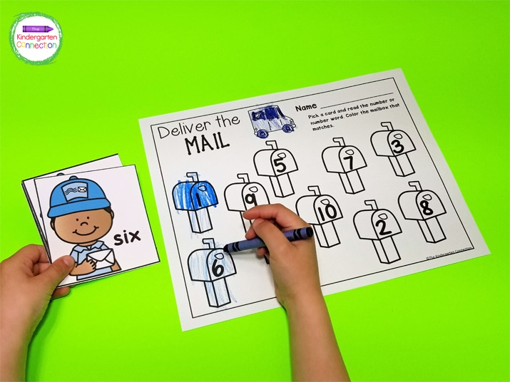 In Deliver the Mail, students can practice recognizing and identifying numbers while having fun coloring!