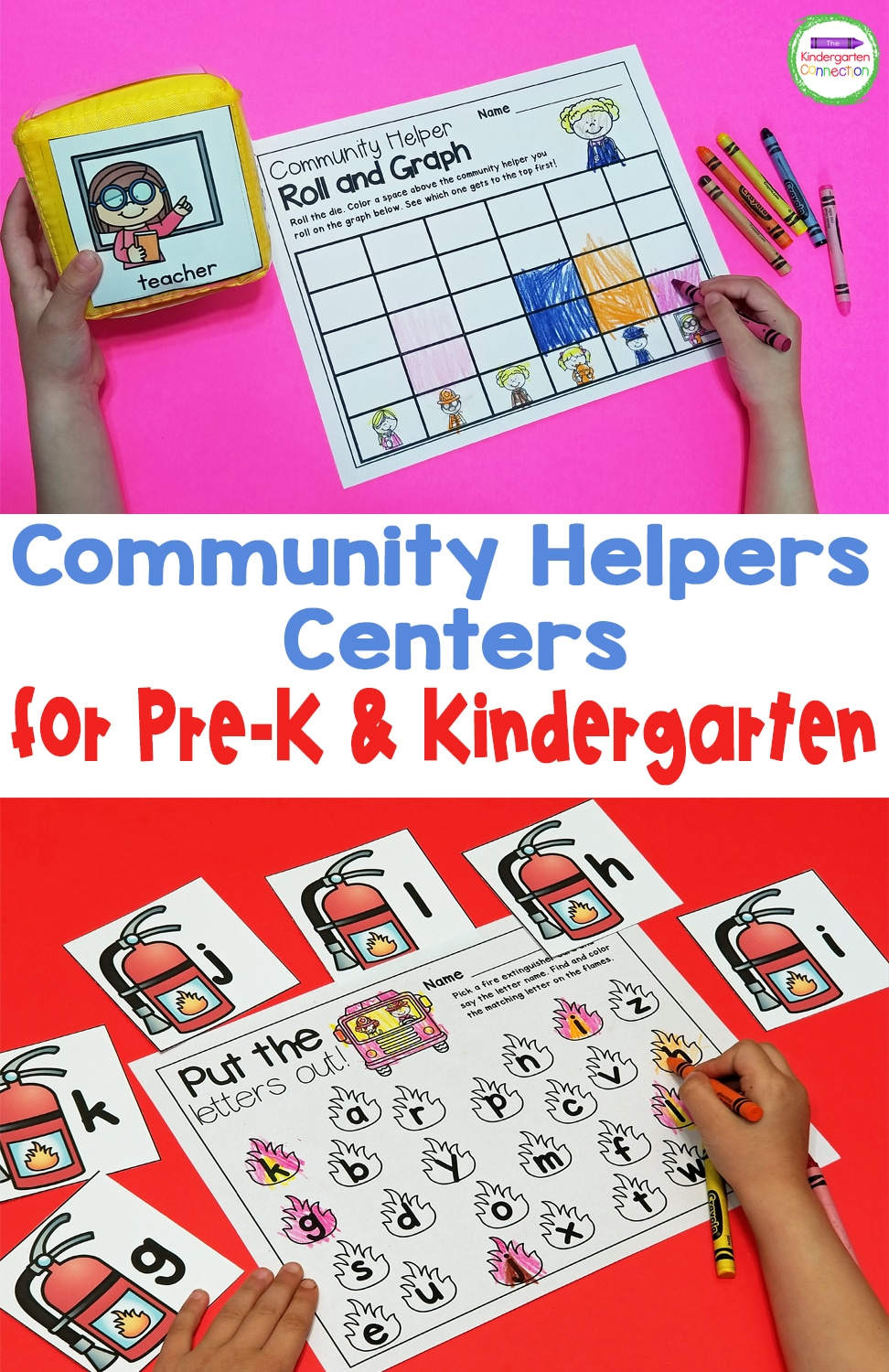 These Community Helpers Activities and Centers for Pre-K & Kindergarten are perfect for strengthening math and literacy skills while learning about community helpers!