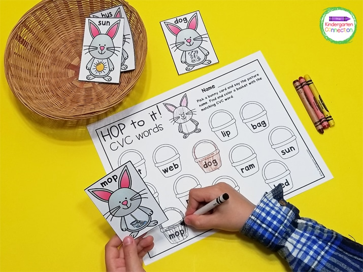In Hop to It! students pull a CVC picture card and find and color the matching CVC word on the recording sheet.