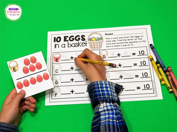 Pick a card and count the eggs on each side. Find the letter of that card and record the equation in the box to make a sum of 10.