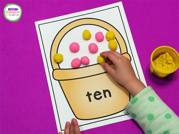 """Use playdough or other manipulatives as """"eggs"""" or """"jellybeans"""" to fill up the Easter baskets by reading the number on the basket."""