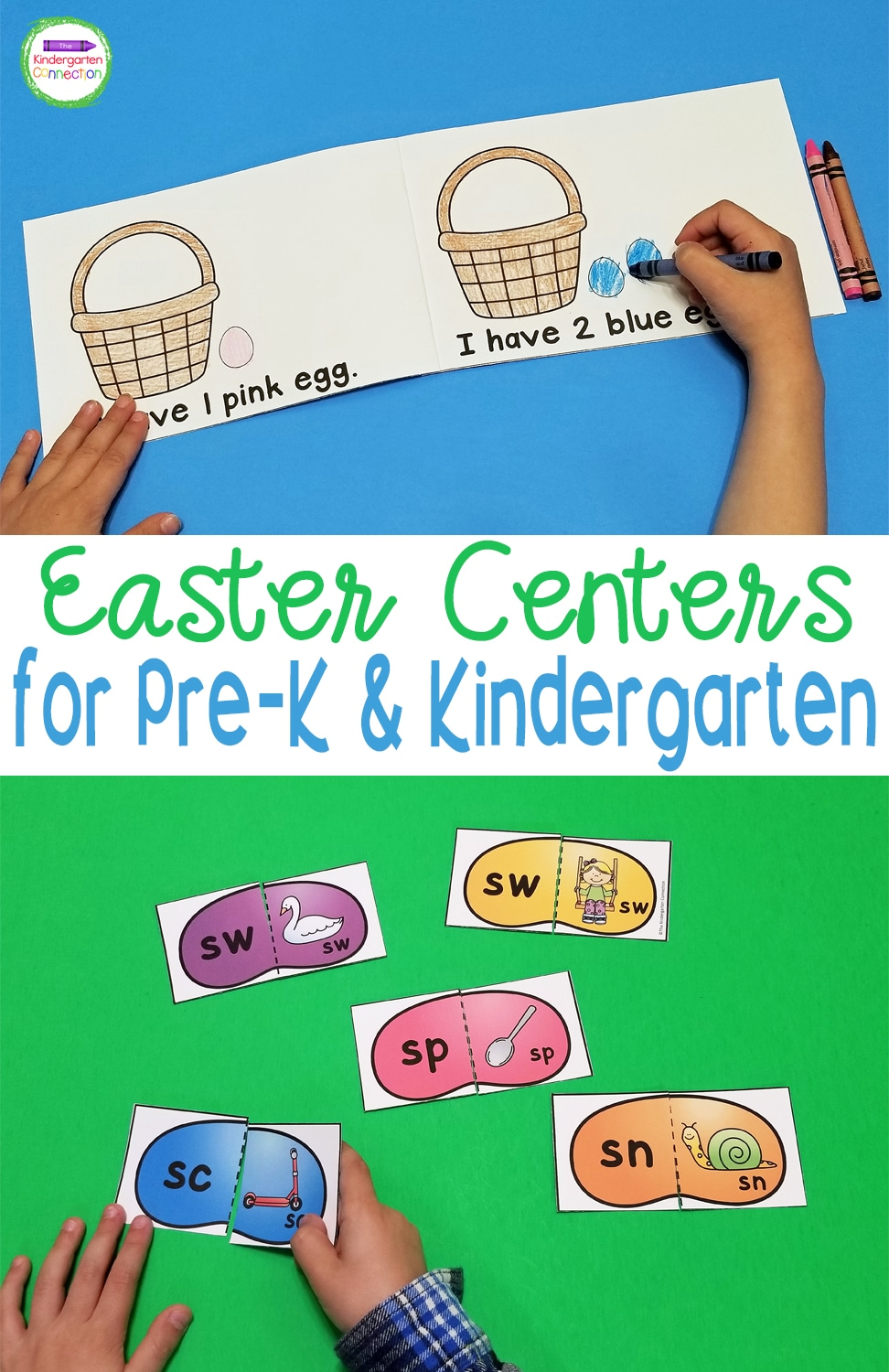These Easter Centers and Activities for Pre-K & Kindergarten provide engaging math and literacy centers with a fun seasonal theme!