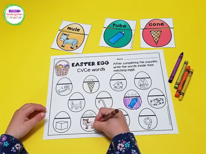 After they have made a match, the kids can write the word and color the picture on the recording sheet.