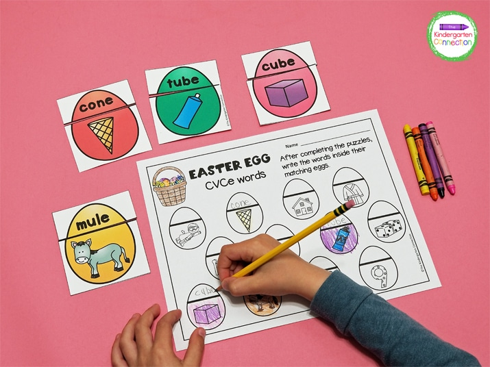 Continue writing the CVCe words until all of the eggs on the recording sheet are completed.