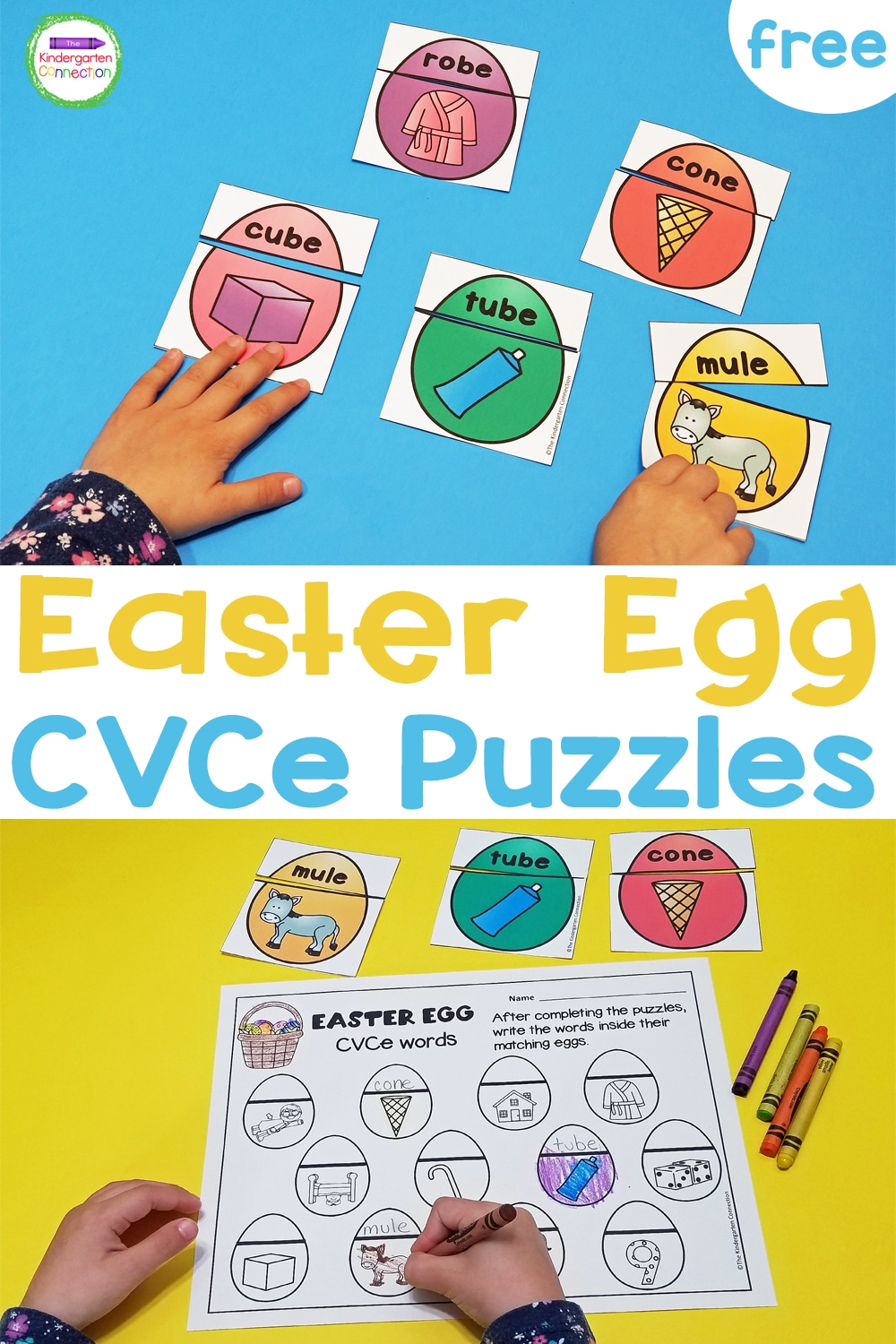 These free Easter Egg CVCe Word Puzzles are perfect for practicing long vowels this spring in your small groups and literacy centers!