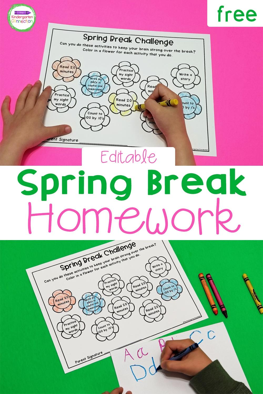 Help keep important skills sharp over break with this FREE editable spring break homework. It's perfect for Pre-K, Kindergarten, & 1st grade!