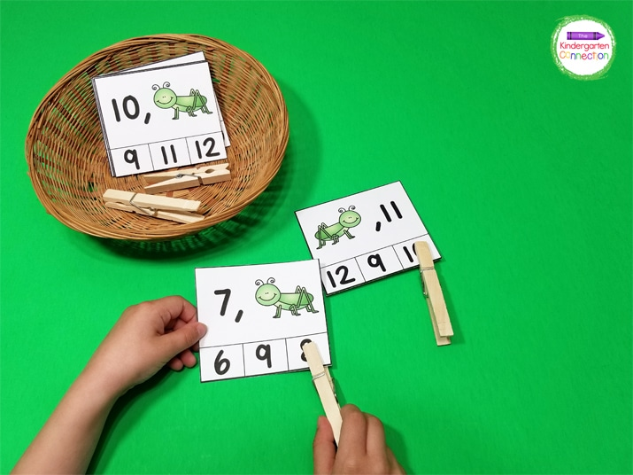 For these number order clip cards, kids pick a card and use a clothespin to clip the number that takes the place of the grasshopper.