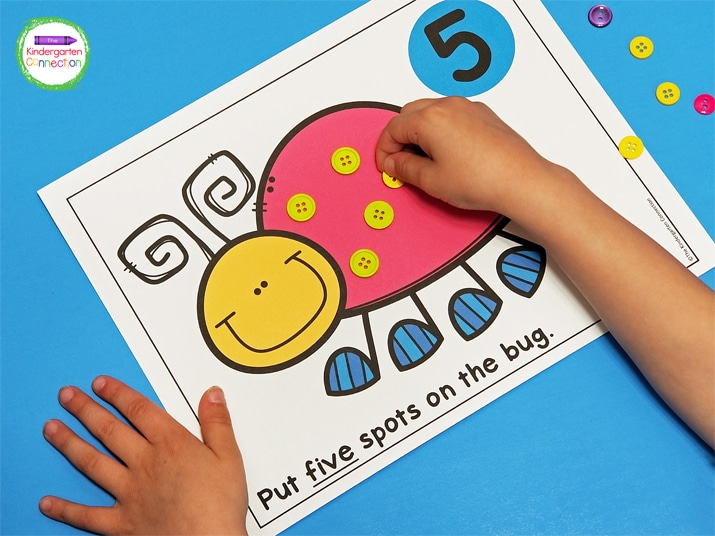 """The students use playdough or any manipulative to make """"spots"""" on the insects by reading the number on the Bug Spots Counting Mat."""