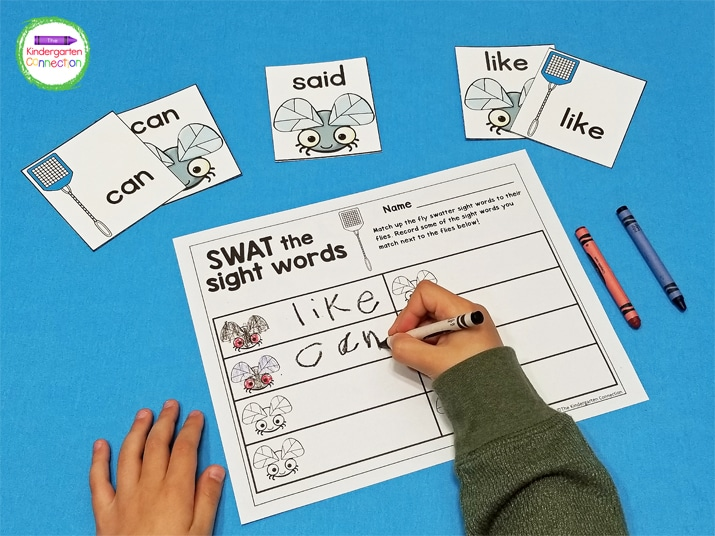 In Swat the Sightt Words, students match up the fly swatter sight words to their flies.