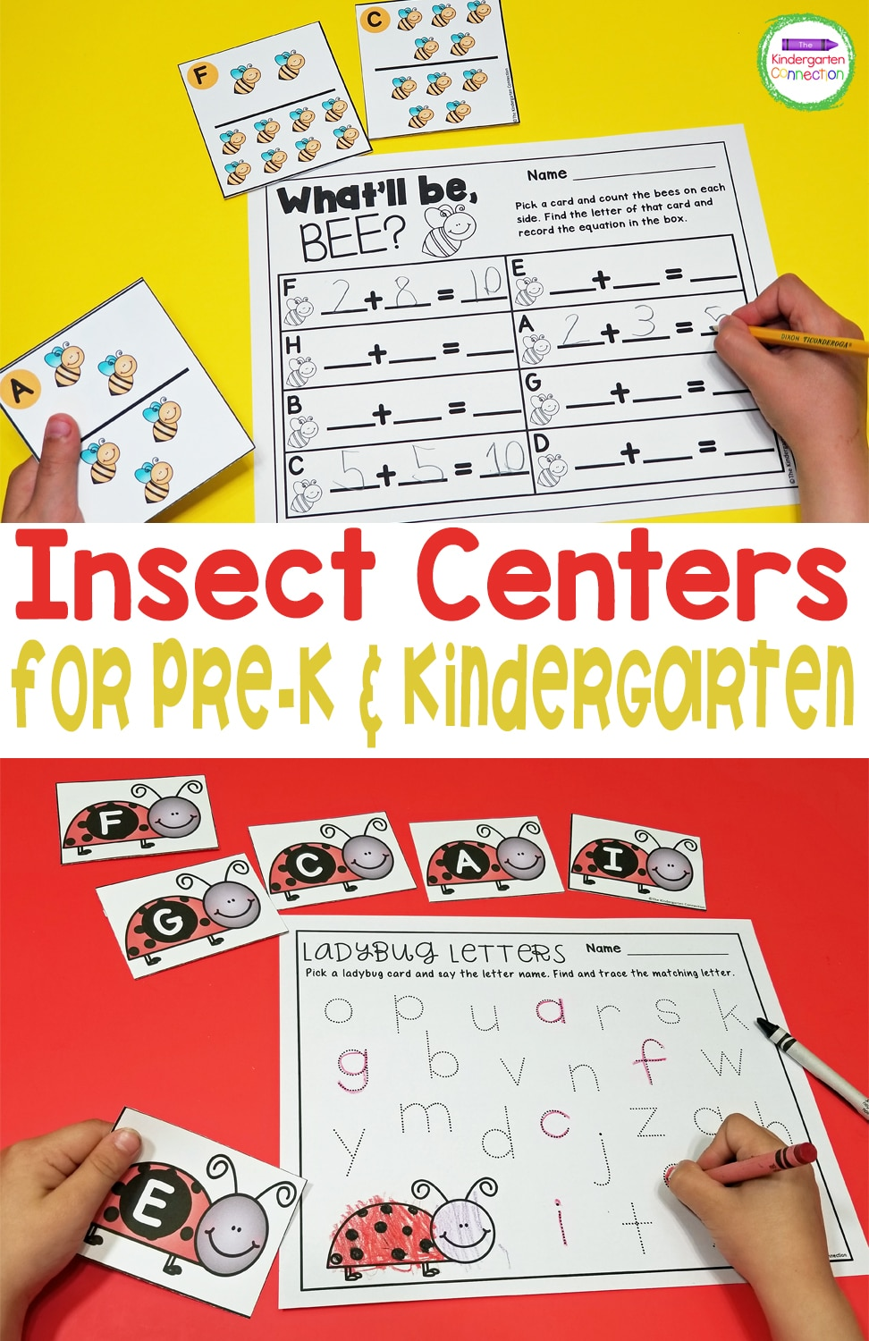 Strengthen important math and literacy skills in a fun, hands-on way with these Insect Centers and Activities for Pre-K & Kindergarten!
